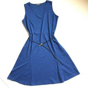Jones New York Blue Knit Fit and Flare Dress